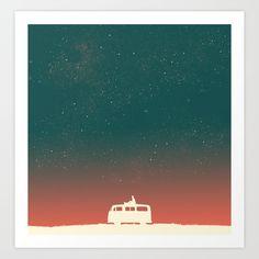 Quiet Night - starry sky Art Print by Budi Satria Kwan | Society6