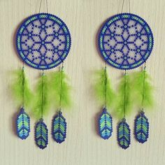 Blue&green dreamcatcher hama beads  by sistyria