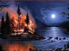 úplněk obrázky, požární tapety, řeka vektor, ostrov fotografie, malba, noční pozadí, umělecké fotografie, Dřevo