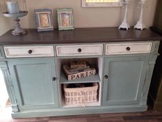 Buffet Painted in Duck Egg Blue and Old White and distressed.  Top done in a Graphite wash with dark wax.  LOVE this piece and want to do one similar.  Painted by Alena Jones from Annie Sloan Projects Before/After Forum.