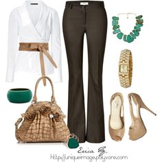 Olive Green Pants, created by uniqueimage on Polyvore