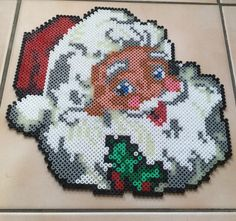Santa Claus Christmas hama perler beads by Hamadeco Perler Bead Designs, Hama Beads Design, Perler Bead Art, Melty Bead Patterns, Pearler Bead Patterns, Perler Patterns, Beading Patterns, Pony Bead Projects, Christmas Perler Beads