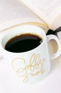 Definitely need this cute mug with gold script for coffee in the mornings.