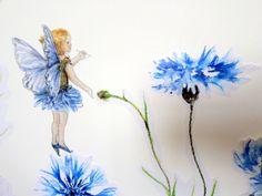Fairy wall decal, blue flower fairy wall sticker, girls bedroom decor…