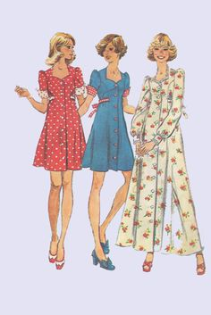 1970s Gunne Sax style Jr Teen Dress Pattern Long by EagerlySought