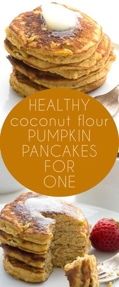 Pancakes for One Low Carb Coconut Flour Pumpkin Pancakes. A great grain-free breakfast. A great grain-free breakfast. Coconut Flour Pancakes, Coconut Flour Recipes, Keto Pancakes, Almond Flour, Waffles, Paleo Pumpkin Pancakes, Oat Flour, Pumpkin Puree, Low Carb Breakfast