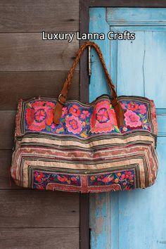 Lujo étnico vintage Hmong bolsa tote raras flores por LavishLanna