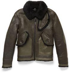 Coach - Leather-Trimmed Shearling Bomber Jacket|MR PORTER