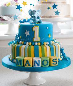 Childrens birthday cakes / Colourful boys' birthday party cake in blue with elephant 1st Birthday Cake Designs, One Year Birthday Cake, Birthday Cake Kids Boys, Baby First Birthday Cake, Boys 1st Birthday Cake, Birthday Cake With Photo, Cake 1 Year Boy, Birthday Ideas, Birthday Diy