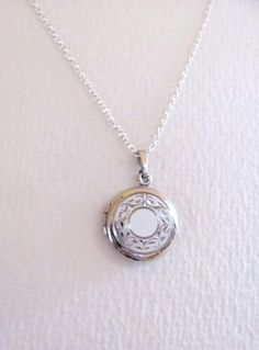 Vintage sterling silver round etched locket by MySoCalledVintage, $62.00
