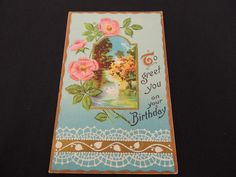 Vintage Post Card 1913 Happy Birthday Pink Flowers Swan Lake Embossed Trees   #Birthday