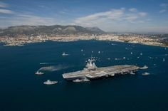 French Marine Nationale Porte-avions (aircraft carrier) FS Charles de Gaulle enters the port of Toulon after a major refit & modernisation.