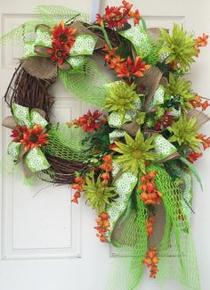 Summer Colorful Grapevine Wreath by WilliamsFloral on Etsy https://www.etsy.com/listing/238765653/summer-colorful-grapevine-wreath