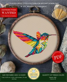 This is modern cross-stitch pattern of Mandala Hummingbird for instant download. You will get 7-pages PDF file, which includes: - main picture for your reference; - colorful scheme for cross-stitch; - list of DMC thread colors (instruction and key section); - list of calculated