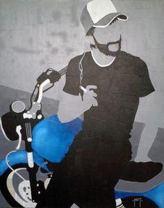 - dirty oil blue - - technique mixte sur collage - copyrigth-matthieu gerbeaud