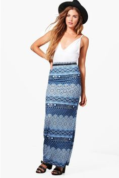 I love boho skirts! I have wayy too many but I can't help it, I have to buy it when I see one. Great for music festivals, picnics, concerts, you name it. Printed Maxi Skirts, Border Print, Boho Skirts, Festival Fashion, Boohoo, Hemline, Harem Pants, Sequin Skirt, Bohemian