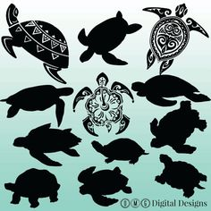 12 Turtle Silhouette Clipart Images Clipart by OMGDIGITALDESIGNS