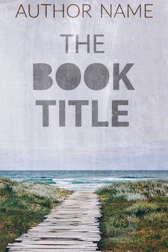 Premade book cover Thriller, Suspense, Mystery, ocean with blue sky, path to the beach, grungy look, no people