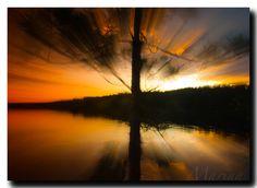 $3.00 Boundary Waters Sunset Zoom lens on Big Moose Lake.  Marina Castillo Photography Greeting Card