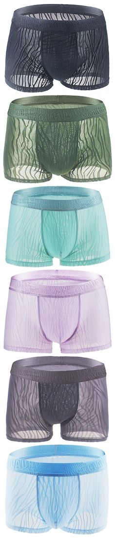 Sexy Thin Ice Silk Breathable Hollow Lace Transparent Boxer Briefs for Men.  Neat right? I sadly want theses for myself.