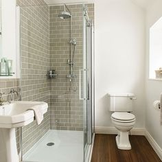 This en suite shower room has been given a retro look with metro tiles and classic bathroom fittings. Loft Bathroom, Bathroom Grey, Upstairs Bathrooms, Ensuite Bathrooms, Family Bathroom, Downstairs Bathroom, Bathroom Renos, Small Bathroom, Classic Bathroom