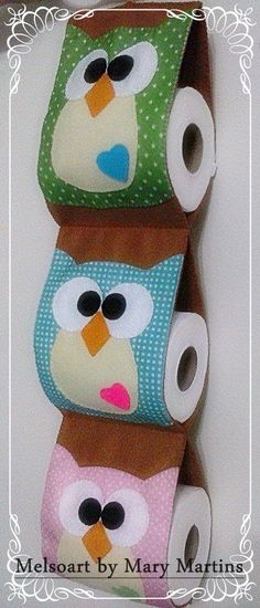 Porta papel higienico by Melsoart Sewing Hacks, Sewing Projects, Craft Projects, Projects To Try, Craft Patterns, Sewing Patterns, Sewing Slippers, Diy Toilet Paper Holder, Owl Sewing