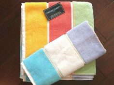 "Soft as a cloud. You'll love this set of Cynthia Rowley bath (28"" x 54"") and hand (18"" x 28"") towels in 100% terry cotton with wide horizontal stripes with a border in-between each stripe. The soft color palette includes gold, orange, green, lilac, cream, and turquoise.  You'll love these towels! #CynthiaRowley"