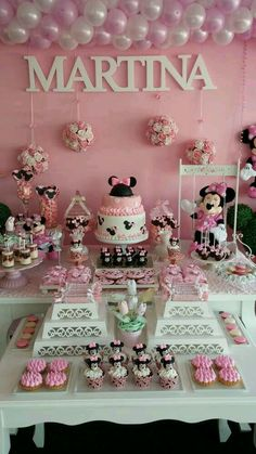 This Minnie Mouse birthday party is gorgeous! I love all of these ideas for a Disney party. Minnie Birthday, 3rd Birthday Parties, Baby Birthday, Birthday Ideas, Minnie Mouse Theme, Minnie Mouse Baby Shower, Minnie Mouse Candy Bar, Festa Party, Mickey Party