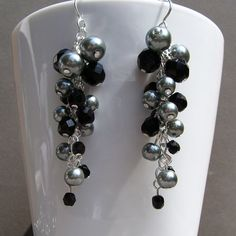 Earrings Pewter Silver Glass Pearl and Jet Black Crystal Silver Cascade Dangle Cluster Bridal - These gorgeous earrings are made with 8mm and 6mm Pewter colored glass pearls and 8mm, 6mm and 4mm Jet Black Crystal Preciosa Czech fire-polished faceted round glass beads. The earrings are approximately 2 3/4 inches in length.