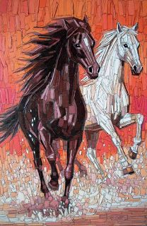 Painting mosaic, Christian Malto ll Emilio Crotti Mosaic Tile Art, Mosaic Diy, Mosaic Crafts, Mosaic Glass, Stained Glass, Mosaic Art Projects, Paper Collage Art, Mosaic Animals, Equine Art