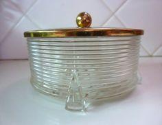 Art Deco Vanity Jar Powder Jar Depression by BonniesVintageAttic