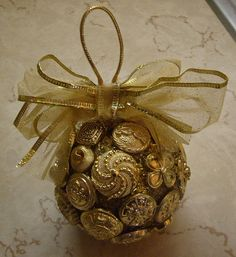 Gold Button Ornament 1 by SherrysShards, via Flickr