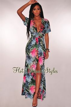 73f56b2e09 Black Blue Palm Print Key Hole Slit Maxi Dress