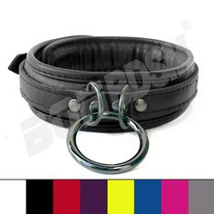 """These high quality hand crafted restraint Collar ensure that you or your partner are under control!!!. These premium restraints O-ring choker is 1.5 inches wide and reinforced with three layers of leather. Features: 1) Ideal to control and restraint!!! 2) All studs are covered by leather to protect your skin/body. 3) Premium D rings, O-ring and fittings. 4) Use a padlock for extra security. (YOU GET ONE FREE PADLOCK) 5) Measures approx. S/M size 52 cm"""" / 20.5', M/L size 58 cm"""" / 23', an"""