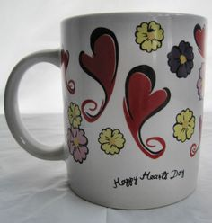 Happy Heart Day Valentine Flowers Love Coffee Tea Cup Mug Container | eBay