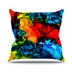 KESS InHouse CD1011BOP03 18 x 18-Inch 'Claire Day Family Photos III Blue Red' Outdoor Throw Cushion - Multi-Colour