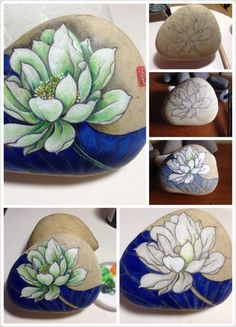 Beautiful flower painted on stone!