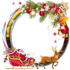 Round Transparent PNG Christmas Photo Frame with Santa Sleng Christmas Labels, Christmas Clipart, Retro Christmas, Christmas Printables, Christmas Holidays, Christmas Ornaments, Christmas Frames, Christmas Paper, Christmas Pictures