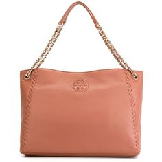 Tory Burch Marion Tote ($566) ❤ liked on Polyvore featuring bags, handbags, tote bags, totes, leather tote handbags, leather handbag tote, tory burch tote bag, leather tote purse and pink tote bag
