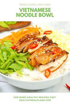 This easy 20 minute recipe starts with a bed of vermicelli noodles and is topped with carrots, snow peas, green cabbage and chicken marinated in a flavorful sauce! Healthy Dinners, Healthy Dinner Recipes, Healthy Food, Healthy Eating, Vermicelli Noodles, Macro Meals, Chili Garlic Sauce, Snow Peas, Green Cabbage