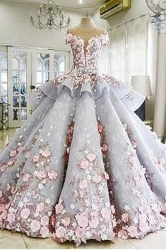 Hot Sale Great Blue Prom Dresses, Long Prom Dresses, Cap Sleeve Prom Dresses, Ruffles Prom Dresses, Cathedral Train Prom Dresses