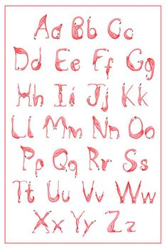 Alphabet ABC Pink Flamingo Art Print Drawing by AmelieLegault For custom crib bedding options visit Miss Polly's Piece Goods~~https://www.etsy.com/shop/MissPollysPieceGoods