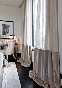 The black floorboards against the half voile curtains is a luxurious look. I love the draping effect on the floor that is given by these curtains. Voile Curtains, Curtains With Blinds, Curtain Fabric, Drapery, Two Tone Curtains, Beaded Curtains, Velvet Curtains, Curtain Styles, Curtain Designs