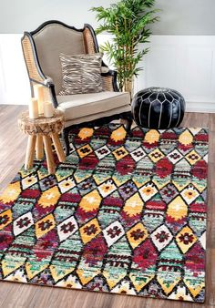 Rugsville Ikat Multi Aquasilk 17210 Rug