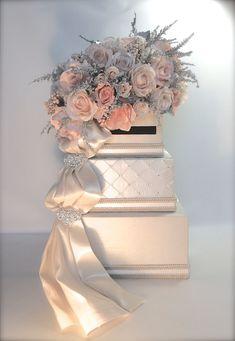 Ivory Peach Wedding Card Holder Wedding Card Box Secure Lock Silver Three Tier by WrapsodyandInk on Etsy Wedding Gift Card Box, Gift Card Boxes, Wedding Boxes, Wedding Cards, Diy Wedding, Fall Wedding, Dream Wedding, Wedding Ideas, Paper Flower Centerpieces