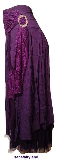 Pretty Angel L, XL, Purple Boho Skirt Lined Sheer Ruffles Antique Buckle NWT #PrettyAngel #PeasantBoho