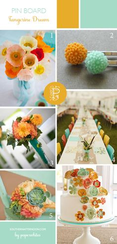 Tangerine and aqua with pink.  Great cake, hair clips, flowers all in an unusual and very pretty palette.