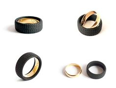 """Mexican product designer Attanasio Mazzone created this """"Ruota"""" (tire wheel) ring to conceal your precious wedding band from would-be thieves!"""