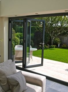 Contact us for a free and no obligation quotation via 01325 381630 or sales Bring the outside in with our Bi-Folding Doors. Aluminium Bi-Fold Doors / Aluminium Bi Folding Doors / Bi-F. Folding Patio Doors, Bifold Doors Onto Patio, Folding Glass Patio Doors, French Doors Patio, French Door Curtains, Aluminium Doors, Door Design, Windows And Doors, Home Interior Design