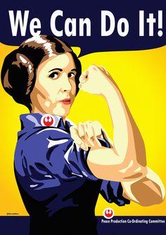 Princess Leia as Rosie the Riveter #illustration #geeky #feminism